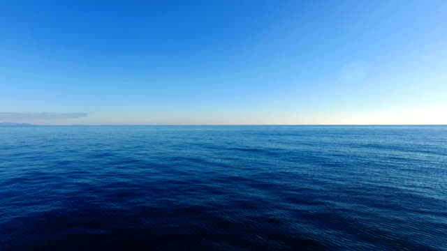 AERIAL: Rippled sea surface with blue water