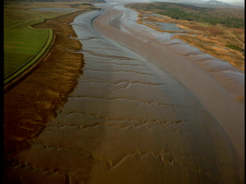 vídeos de stock, filmes e b-roll de ripples appear in a muddy bank of river leading in to the bay of fundy. - drenagem