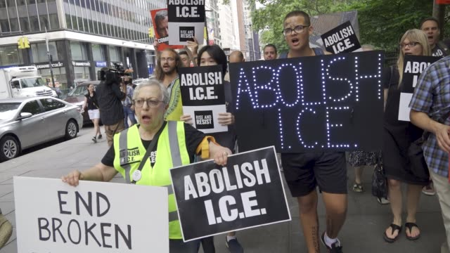 rise and resist' activist rally outside city hall in new york city on july 30, 2018 accusing mayor bill de blasio of complicity and business in nyc... - ice stock videos & royalty-free footage