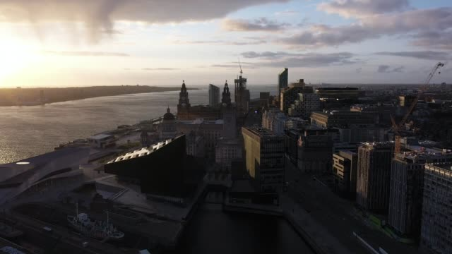 rise in drugs-related serious crime in merseyside during coronavirus lockdown; england: merseyside: liverpool: ext air view / aerial / drone shot of... - drone point of view stock videos & royalty-free footage