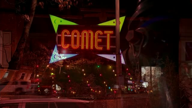 Did it make a difference to the US Presidential election NIGHT Neon sign 'Comet' outside pizza restaurant wrongly targetted online Traffic along...