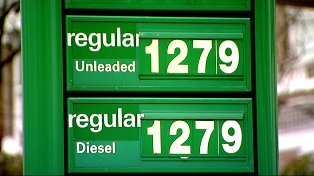 rise in inflation puts pressure on bank of england t01011105 location unknown ext sign at petrol station showing unleaded petrol price of 1279 pence... - unleaded stock videos and b-roll footage