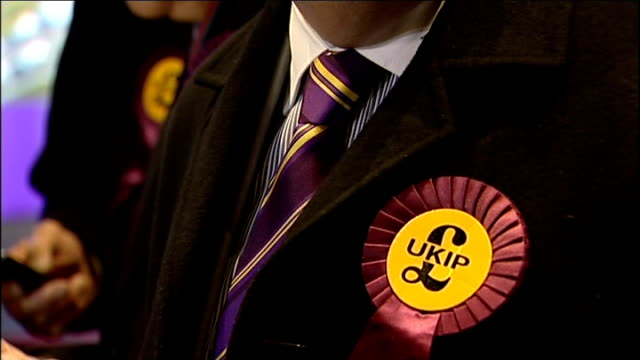 rise of uk independence party in british politics england yorkshire rotherham election officials counting byelection votes close shot of ukip rosette... - 2012 stock videos and b-roll footage