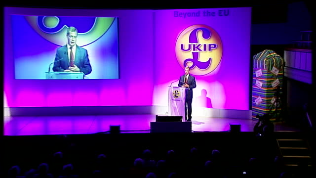 rise of uk independence party in british politics lib int various shots of nigel farage on stage at ukip party conference - 2012 stock videos and b-roll footage