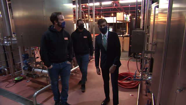 rishi sunak, chancellor of the exchequer, visits pillars brewery in walthamstow - architectural column stock videos & royalty-free footage