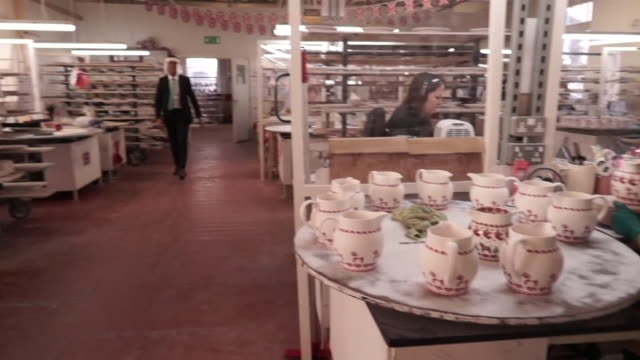 rishi sunak chancellor of the exchequer visits pottery factory in stoke on trent as unemployment figures rise due to coronavirus pandemic - finance and economy stock videos & royalty-free footage