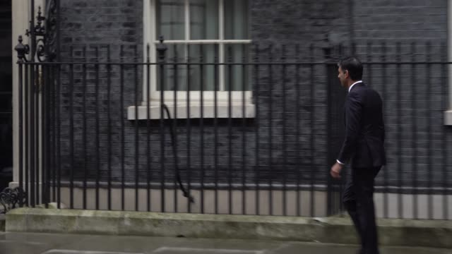 rishi sunak enters downing street prior to being appointed chancellor after sajid javid's surprise resignation the postbrexit cabinet reshuffle - sajid javid stock videos & royalty-free footage