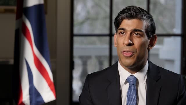 rishi sunak interview; part 1 of 2 england: london: westminster: int rishi sunak mp interview sot q: vaccine rollout going superbly, can restrictions... - sending stock videos & royalty-free footage