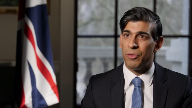rishi sunak interview; part 2 of 2 england: london: westminster: int rishi sunak mp interview sot q: approximately six million people are furloughed,... - adjusting stock videos & royalty-free footage