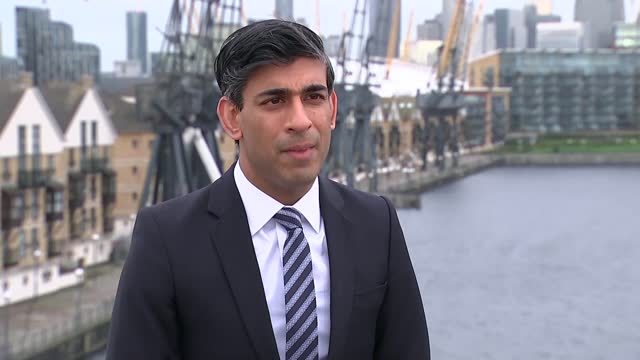 rishi sunak silvertown visit / interview; england: east london: silvertown: ext rishi sunak mp interview sot. q: re boris johnson self-isolating: -... - war and conflict stock videos & royalty-free footage