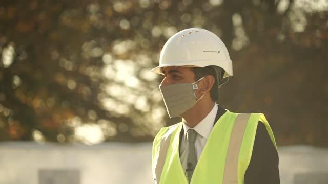 rishi sunak visits west london housing construction site; england: london: hayes: barratt london's hayes village development: ext / int various of... - construction site stock videos & royalty-free footage
