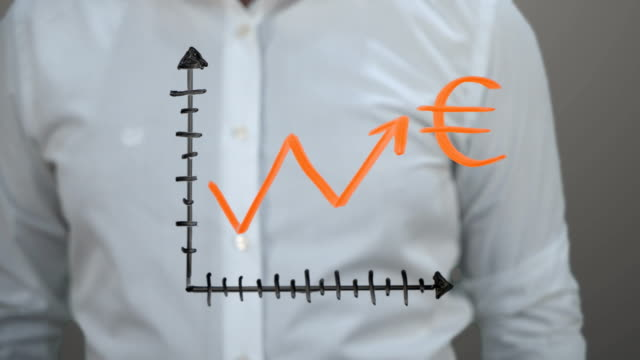 vídeos de stock e filmes b-roll de rising chart ''euro'' - representação gráfica