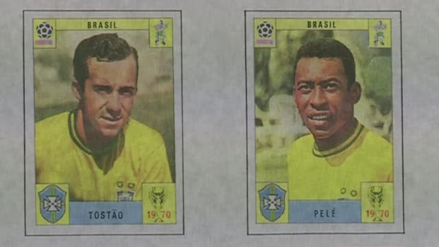 rising costs of football sticker collection t19061451 / 1962014 london int close shot of stickers of brazilian footballers pele and tostao from 1970... - cup stock videos & royalty-free footage