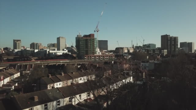 rising drone shot of the croydon skyline - overhead view stock videos & royalty-free footage