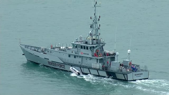 Rising migrant Channel crossing attempts declared major incident by Home Secretary ENGLAND Kent VIEWs / AERIALs Border Force patrol ship tows empty...