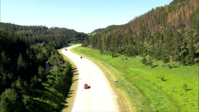 steigt über route 16 - luftbild - south dakota, pennington county, vereinigte staaten - custer staatspark stock-videos und b-roll-filmmaterial