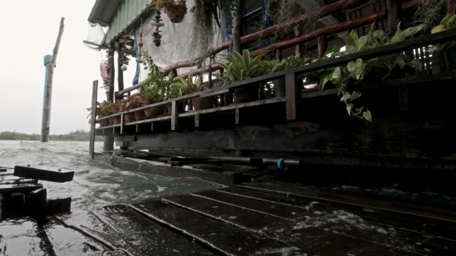 rising sea levels flooding traditional stilt house on andaman sea coastline thailand - costa caratteristica costiera video stock e b–roll