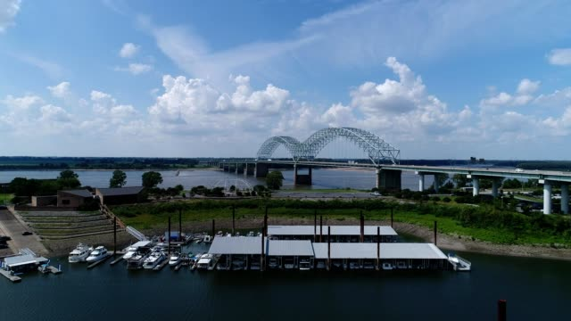 rising shot of memphis bridge - memphis tennessee stock-videos und b-roll-filmmaterial