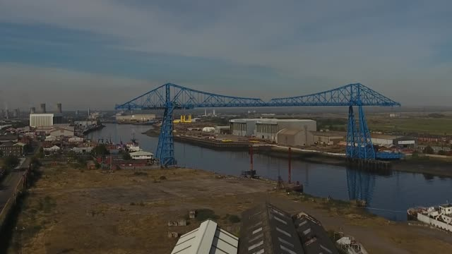 Rising shot of the Middlesbrough Transporter Bridge Aerial Video