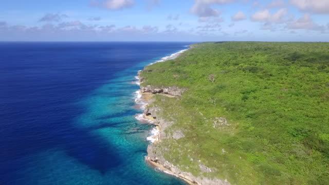 rising view of niue coastline - samoa stock videos & royalty-free footage