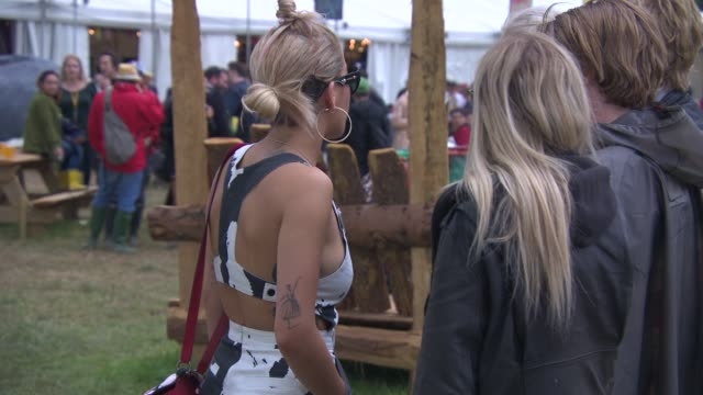 rita ora at celebrity sightings at glastonbury festival at glastonbury festival site on june 27, 2014 in glastonbury, england. - bib overalls stock videos & royalty-free footage