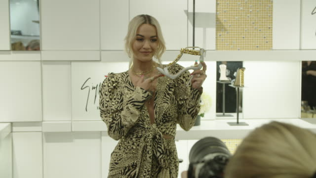 rita ora at giuseppe zanotti and rita orashoe collection launch in los angeles ca - fashion collection stock videos & royalty-free footage