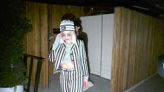 Rita Ora wears a pinstripe suit at The Nice Guy in Los Angeles in Celebrity Sightings in Los Angeles