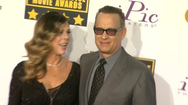 Rita Wilson Tom Hanks at 19th Annual Critics' Choice Movie Awards Arrivals at The Barker Hanger on in Santa Monica California