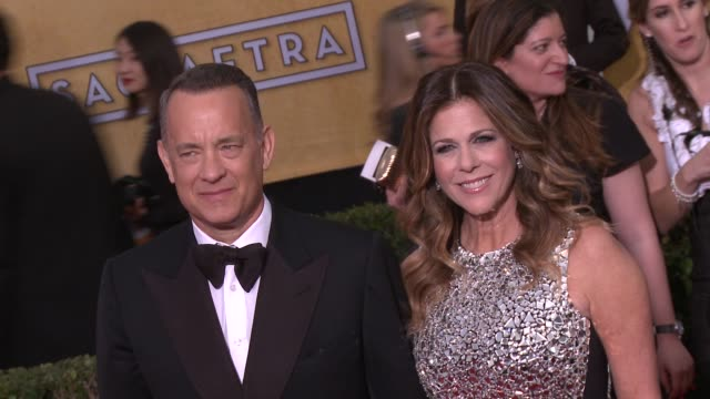 rita wilson tom hanks at 20th annual screen actors guild awards arrivals at the shrine auditorium on in los angeles california - シュラインオーディトリアム点の映像素材/bロール
