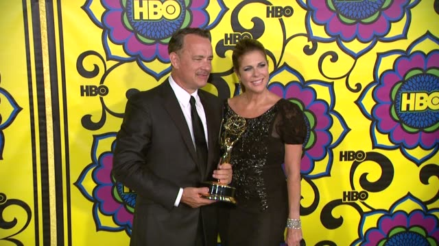 rita wilson tom hanks at hbo's post 64th primetime emmy awards reception on 9/23/2012 in west hollywood ca - emmy awards stock videos & royalty-free footage