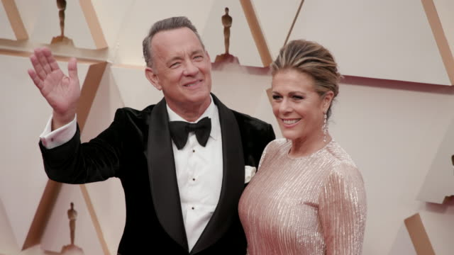 rita wilson, tom hanks at the 92nd annual academy awards - arrivals on feb 09 2020 in hollywood february 9, 2020 - tom hanks stock videos & royalty-free footage