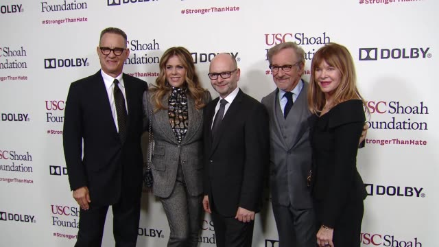 rita wilson tom hanks stephen d smith kate capshaw steven spielberg at kate capshaw steven spielberg and usc shoah foundation honor rita wilson tom... - martin short stock videos & royalty-free footage