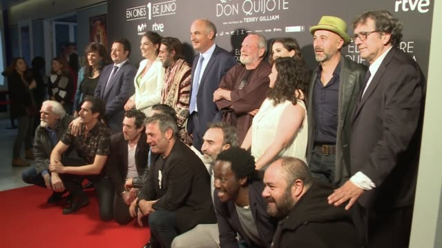 ritish director Terry Gilliam and the cast attend the premiere of 'El hombre que mato a Don Quijote' at Dore Cinemas