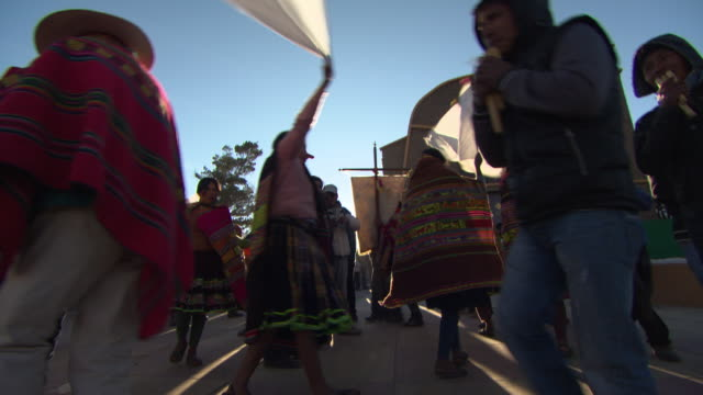 ritual dancing at spring festival, cala cala, bolivia - lateinamerika stock-videos und b-roll-filmmaterial