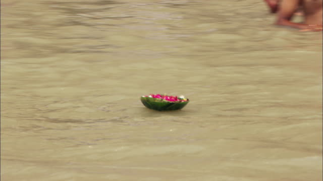 Ritual flowers float past bathers in the Ganges River. Available in HD.