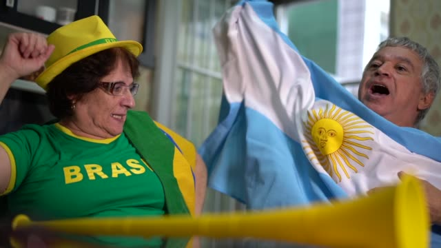 rivalry between brazilians and argentines fans - rivalry stock videos & royalty-free footage
