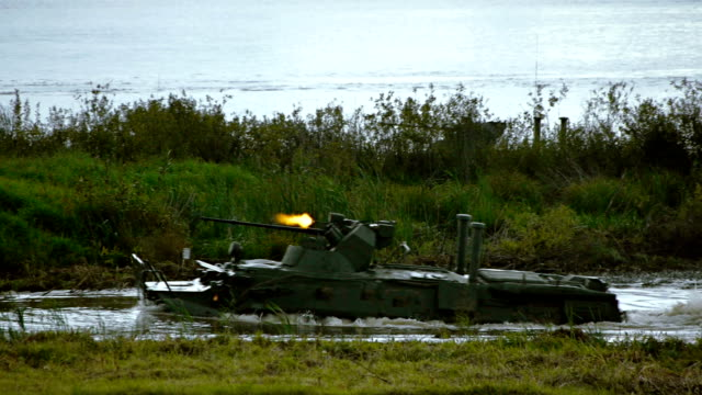 river assault crossing by apc - armoured personnel carrier stock videos & royalty-free footage