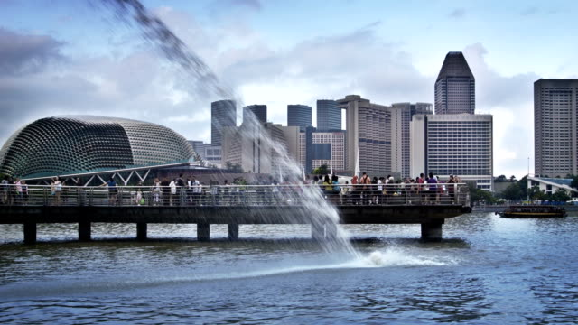 river at the singapore - merlion fictional character stock videos and b-roll footage