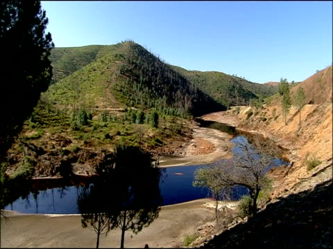 river curves around, rio tinto, huelva, andalusia, spain - huelva province stock videos & royalty-free footage
