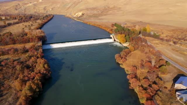river dam waterfall drone view - splashing droplet stock videos & royalty-free footage