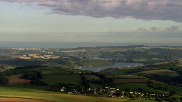 river dart  - aerial view - england, devon, south hams district, united kingdom - devon stock videos & royalty-free footage