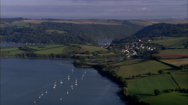 river dart and dittisham - aerial view - england, devon, south hams district, united kingdom - devon stock videos & royalty-free footage