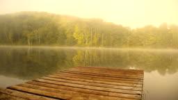 River Dock in Morning Mist