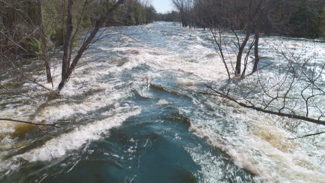 river flood with fast water in spring - overflowing stock videos & royalty-free footage