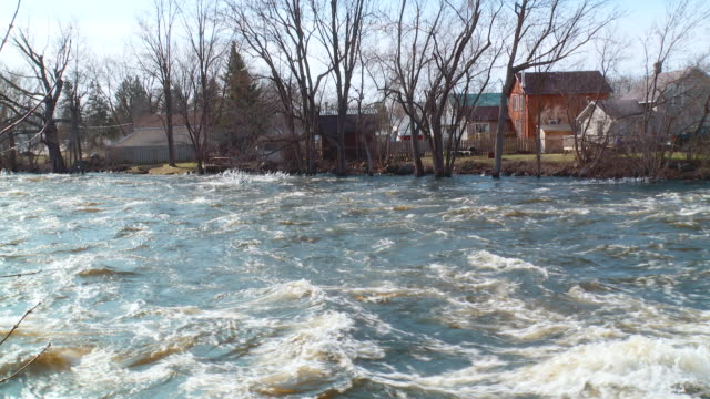 river flood with fast water in spring - flood stock videos & royalty-free footage