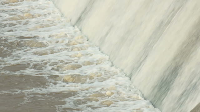 LS CU River flowing over flooded dam/xian,shaanxi,China