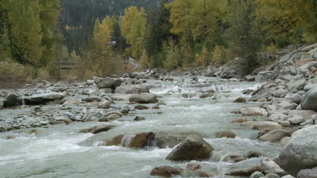 WS SLO MO River flowing through rocks / Whistler, British Columbia, Canada