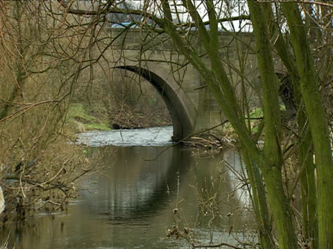 River flows past arched stone bridge UK