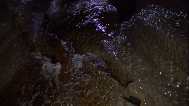 A river flows through a cave. Available in HD.