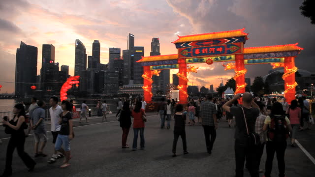 river hongbao decorations for chinese new year celebrations at marina bay, singapore, south east asia - decoration stock videos & royalty-free footage